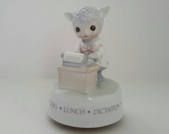 Vintage Music Box, Lamb Figurine, Secretary Typewriter, Ceramic Music Box, Nine to Five Music Box, Cute RR Roman Porcelain Music Box