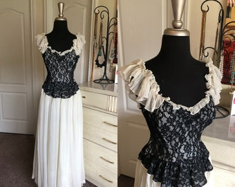 Vintage 1930's Black and White Gown with Lace Bodice Small