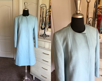 Vintage 1960's Betty Rose Light Blue Wool Coat S/M