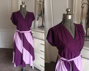 Vintage 1980's Two Tone Purple Dress XXL
