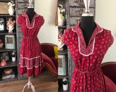 Vintage 1970 39 s Gunne Sax Style Maroon Floral Dress Small