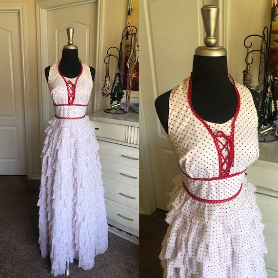 Vintage 1970's White Gown with Red Swiss Dot Tiere