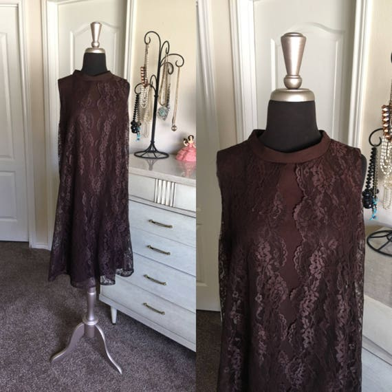 Vintage 1960's Vicky Vaughn Chocolate Brown Dress