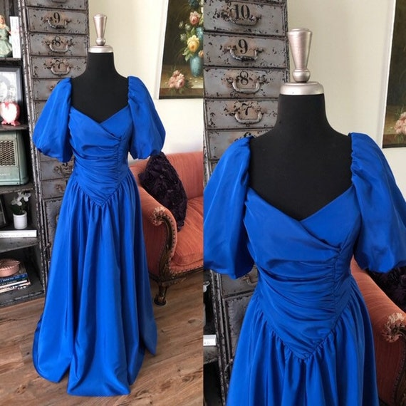 Vintage 1980's Royal Blue Princess Dress Small