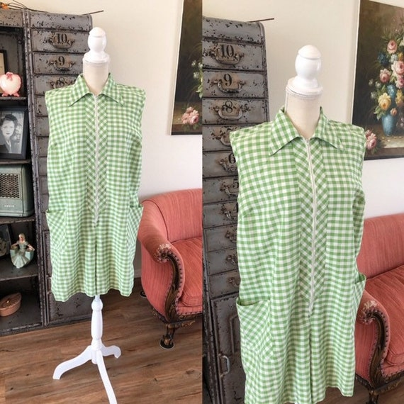 Vintage 1960's Green and White Gingham Romper Jump
