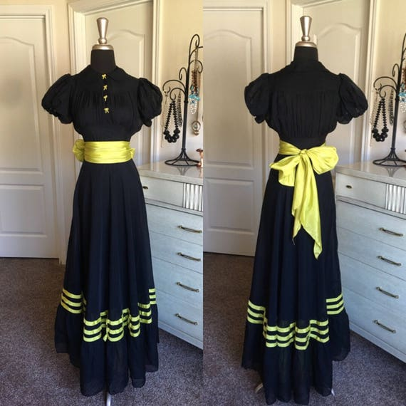 Vintage 1930's Black and Chartreuse Three Piece Go