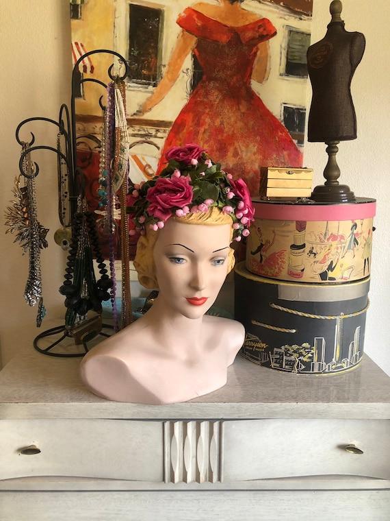 Vintage 1950's 60's Dark Pink Roses Hat