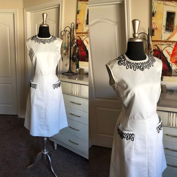 Vintage 1960's White Pat Premo Dress with Black So