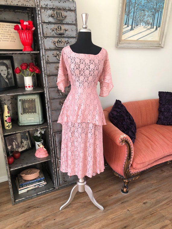 Vintage 1990's does 40's Dusty Pink Lace Dress wi… - image 4