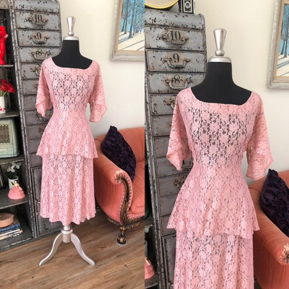 Vintage 1990's does 40's Dusty Pink Lace Dress wi… - image 1