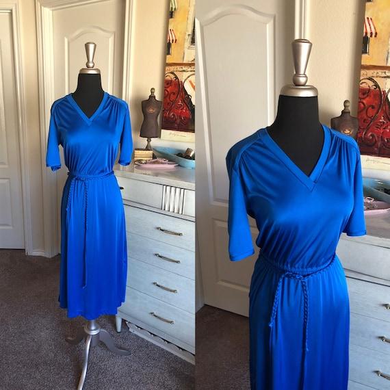Vintage 1970's Royal Blue Day Dress Medium