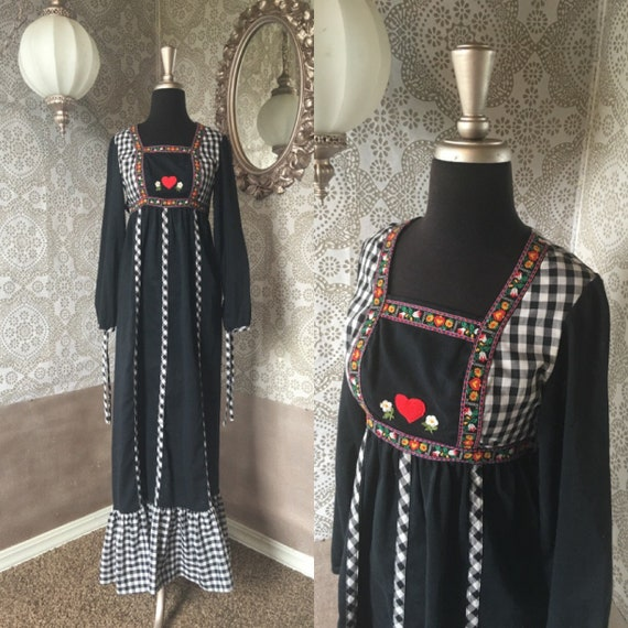 Vintage 1970's Black and White Gingham Dress with