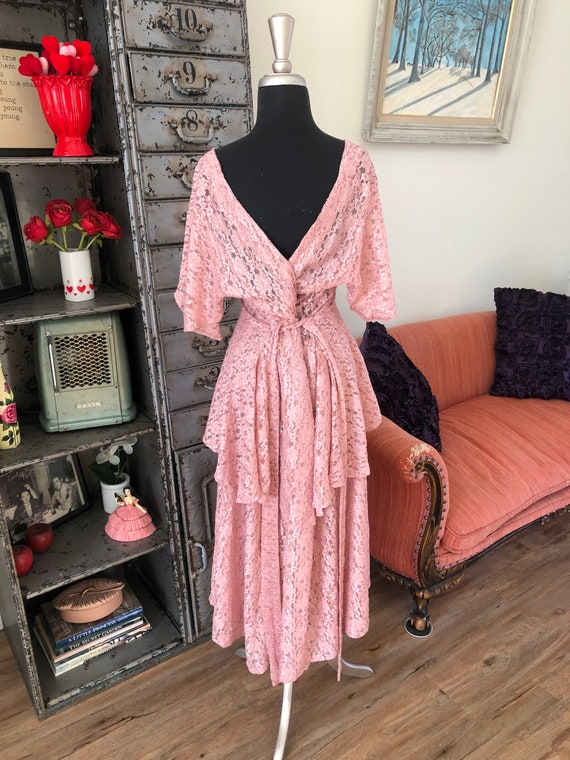 Vintage 1990's does 40's Dusty Pink Lace Dress wi… - image 6