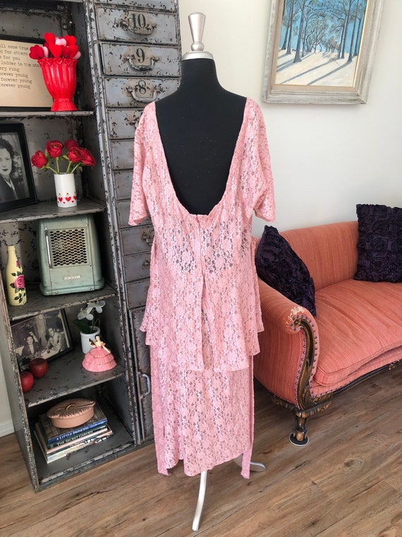 Vintage 1990's does 40's Dusty Pink Lace Dress wi… - image 8