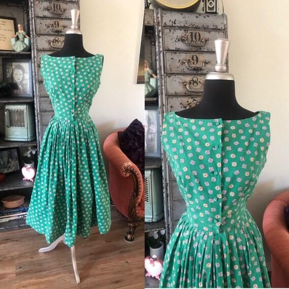 Vintage 1940's 50's Green Cotton Dress XS