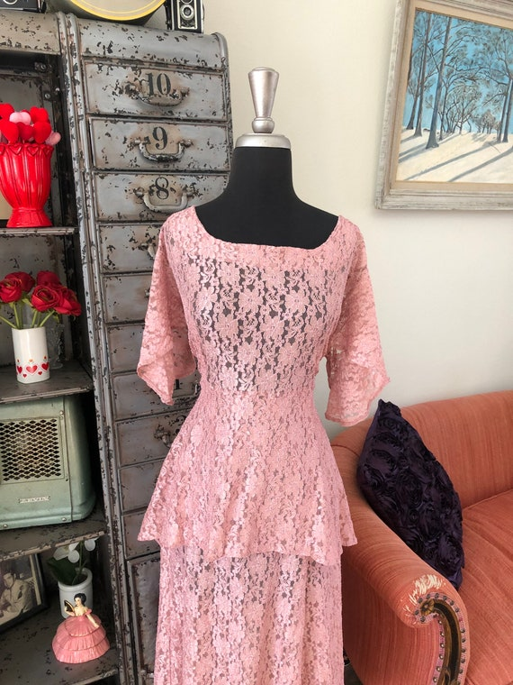 Vintage 1990's does 40's Dusty Pink Lace Dress wi… - image 7