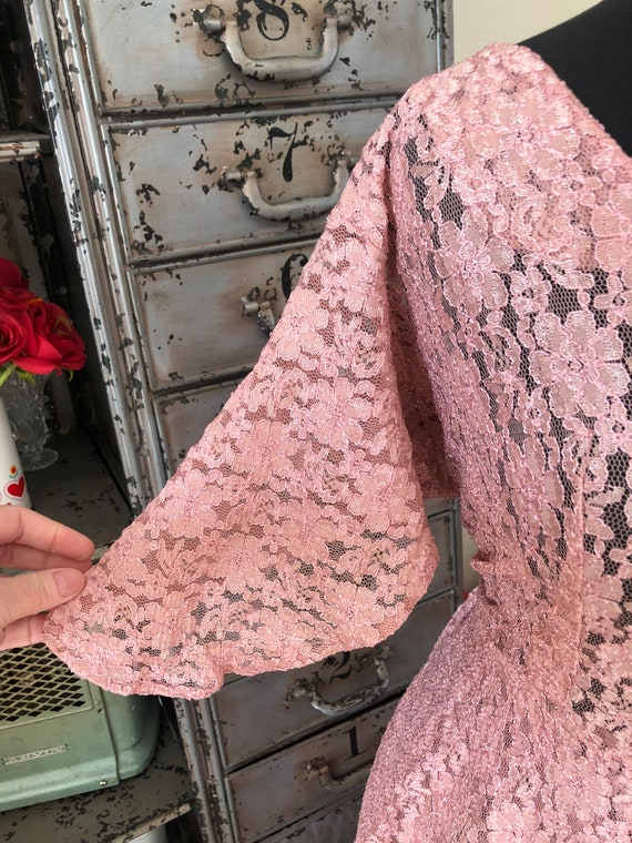 Vintage 1990's does 40's Dusty Pink Lace Dress wi… - image 5