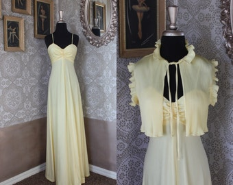 Vintage 1970's Light Yellow Sundress Gown with Jacket Small