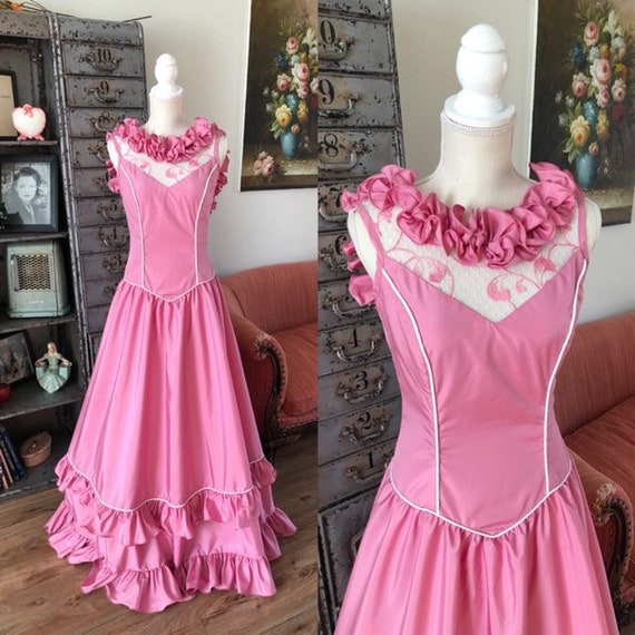 Vintage 1970's 80's Pink Ruffled Floor Length Gown