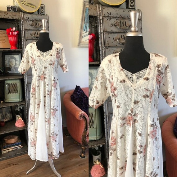 Vintage 1990's Floral Dress with Sheer Panels Medi