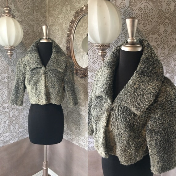 Vintage 1940's 50's Grey Curly Lamb Cropped Jacket