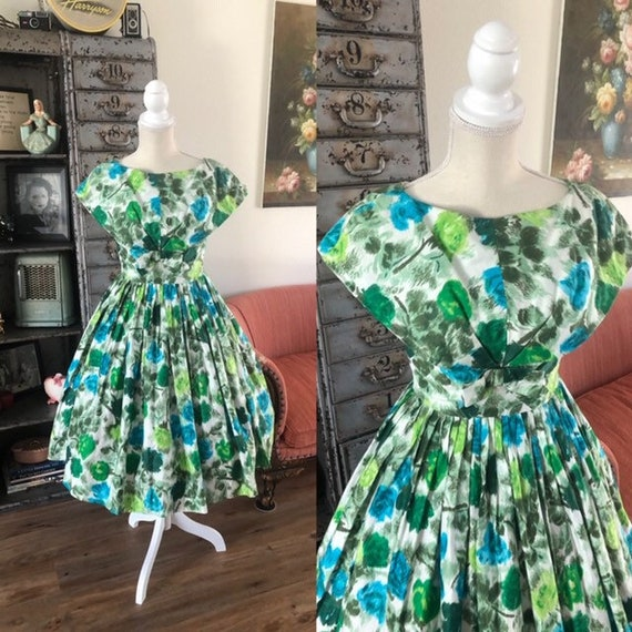 Vintage 1950's Blue and Green Rose Print Dress XS