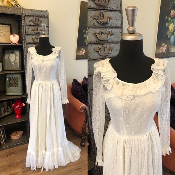 Vintage 1970's Victorian Inspired Wedding Dress XX