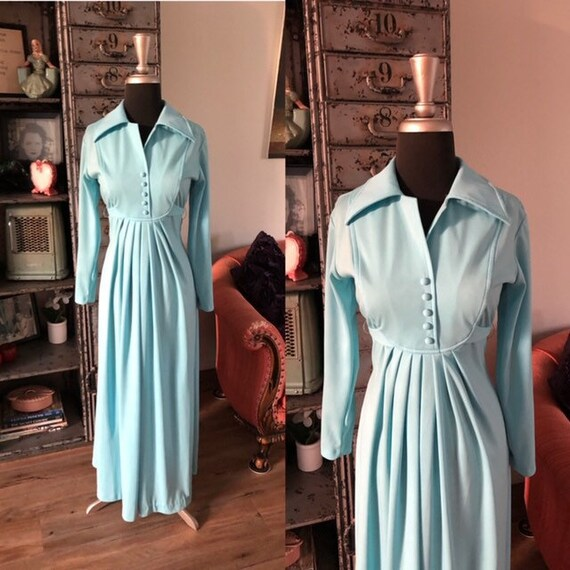 Vintage 1970's Light Blue Maxi Dress with Tie Back