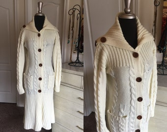 Vintage 1970's Off White Cable Knit Sweater Coat Medium