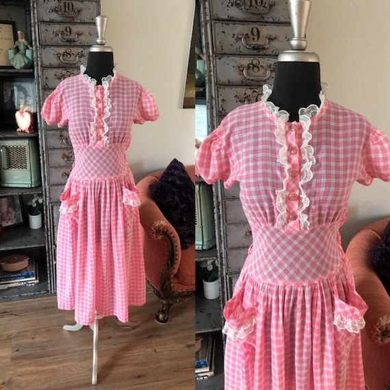 Vintage 1930's 40's Pink and White Gingham Cotton