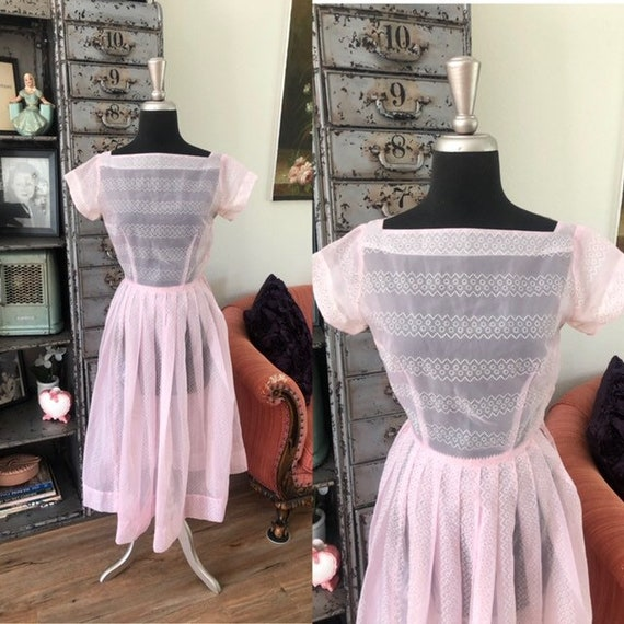 Vintage 1950's Gay Gibson Sheer Pink Flocked Dress