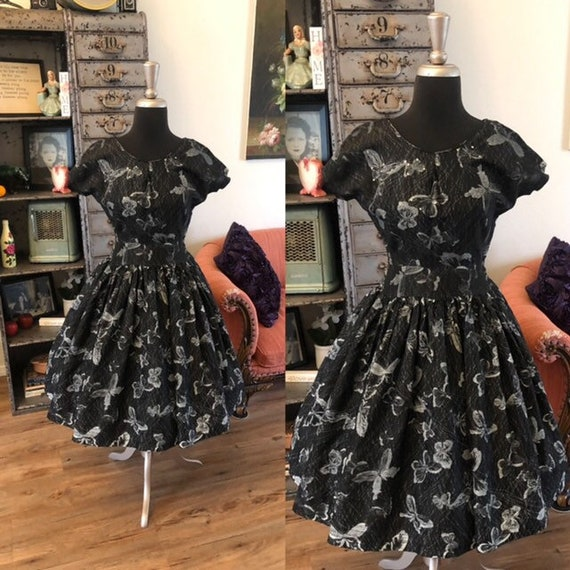 Vintage 1950's Black Dress with Grey and Silver Bu