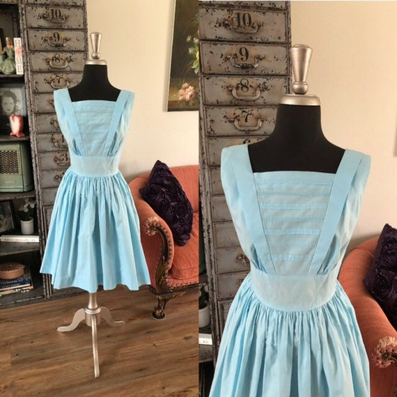 Vintage 1950's Betty Barclay Blue Cotton Dress Sma