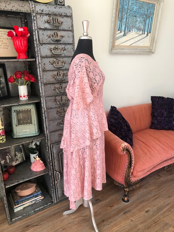 Vintage 1990's does 40's Dusty Pink Lace Dress wi… - image 3