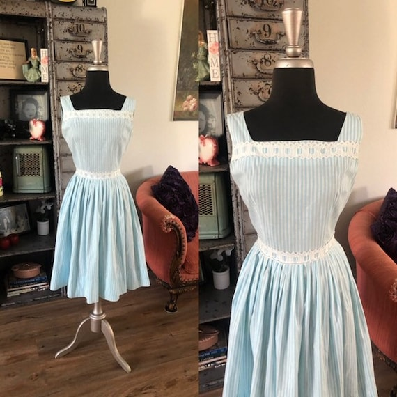 Vintage 1950's Betty Barclay Blue and White Stripe