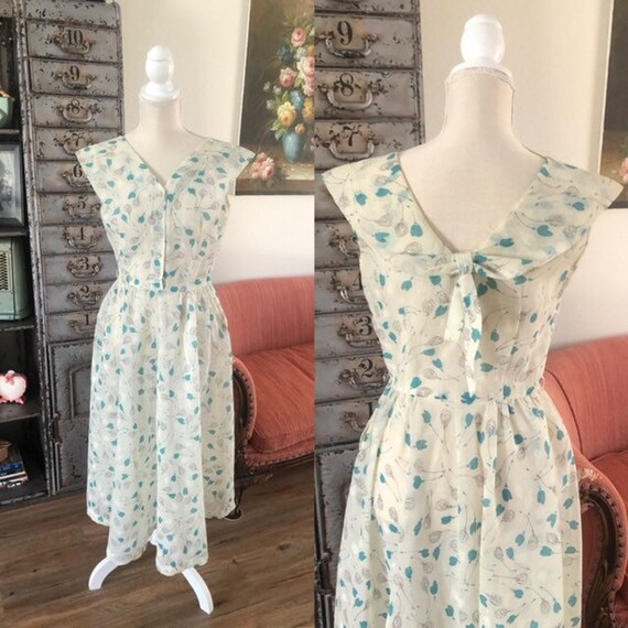 Vintage 1950's Gay Gibson Sheer Floral Print Dress