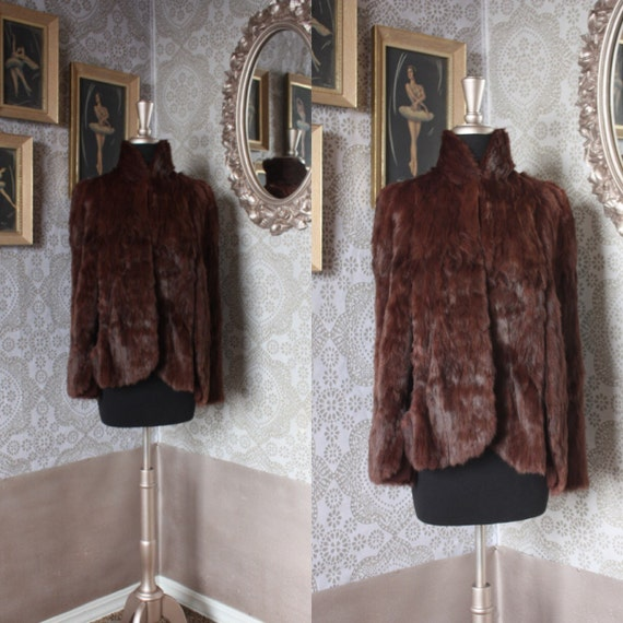 Vintage 1940's Brown Fur Cape One Size