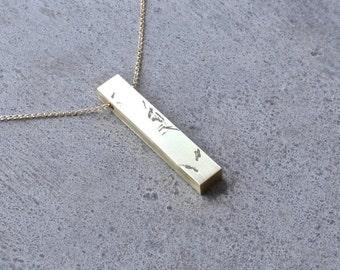 Collier minimaliste pendentif de bijoux contemporains en laiton