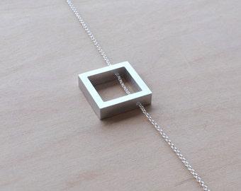 Aluminum Necklace Anniversary Jewelry Aluminum Jewelry Minimalist Square Necklace