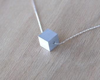 Aluminum Necklace Anniversary Jewelry Aluminum Jewelry Minimalist Cube Necklace