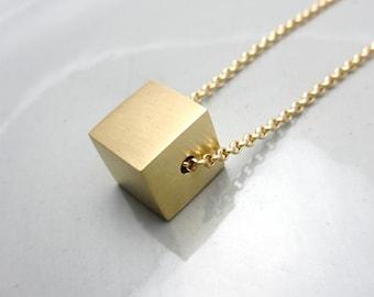 Brass Cube Necklace Minimalist Necklace Anniversary Jewelry