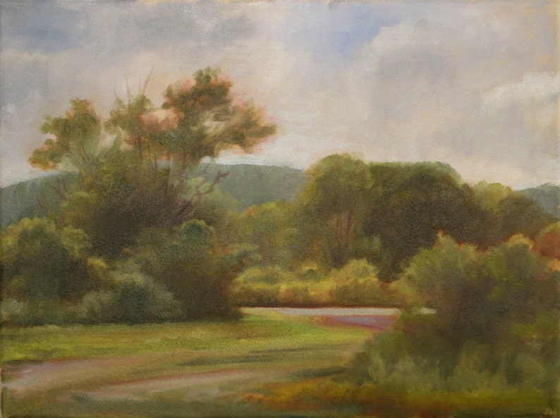 38d63a192dd42 Overcast Day Landscape, Cloudy Day With Trees, Plein Air Landscape, Oil  Painting Landscape, Realistic Landscape