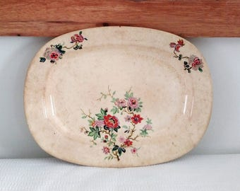 Edwin Knowles Floral Ivory Platter