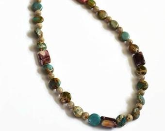 Turquoise necklace Gemstone necklace long necklace Beaded necklace Boho necklace Layering necklace Statement necklace Gemstone necklaces