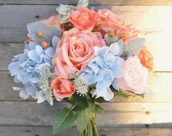 Coral Wedding Bouquet, Wedding Flowers, Bridal Bouquet, Coral Roses, Silk Flowers, Flower Bouquet, Bridal Bouquet, Boho, Bridesmaid Bouquet