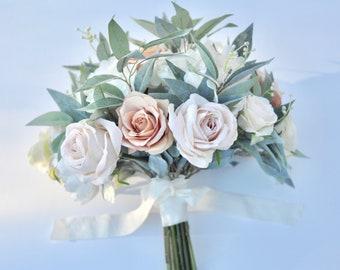 wedding bouquet, wedding flowers, bridal bouquet, boho, eucalyptus, poppy, anemone, rose, silk flowers, destination wedding, wedding, blush