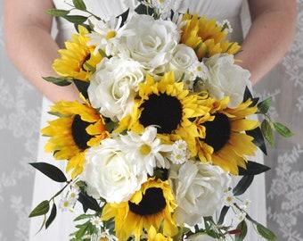 Bridal Bouquet, Cascade Bouquet, Sunflower Bouquet, Bride Bouquet, Bridal Flowers, Silk Flower Bouquet, Custom Wedding Package, Sunflowers