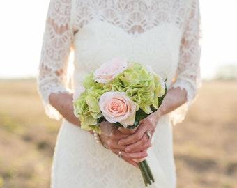 Wedding Bouquet, Wedding Flowers, Flower Bouquet, Rose, Hydrangea, Silk Flowers, Flower Bouquet, Bridal Bouquet, Boho, Bridesmaid Bouquet
