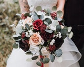 Silk wedding bouquet, brides bouquet, wedding bouquet, boho bouquet, red, burgundy, pink, cascade bouquet, boho bride, destination wedding.