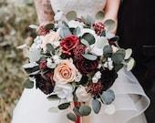 Silk wedding flowers, brides bouquet, wedding bouquet, boho bouquet, red, burgundy, pink, cascade bouquet, boho bride, destination wedding.